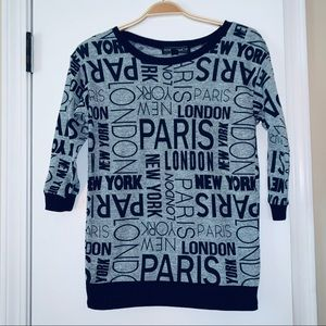 Paris London newyork crewneck